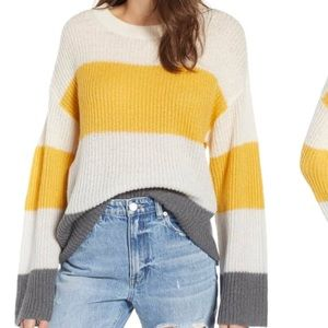 BP yellow grey & white color block stripe sweater